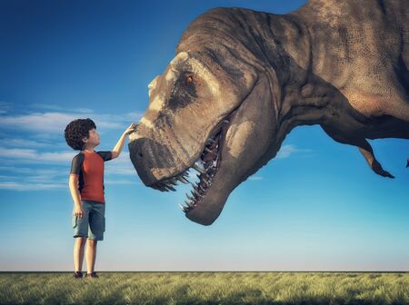 Kid playing with a T rex . This is a 3d render illustration. Stok Fotoğraf