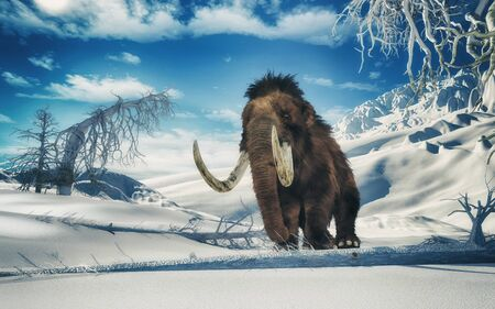 Mammoth in the middle of mountains . This is a 3d render illustration Stock fotó