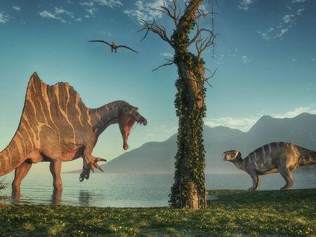 Spinosaurus and an iguanodon in the jungle at lake . This is a 3d render illustration.