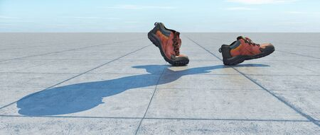 Pair of shoes walking and creating a shadow of a man. This is a 3d render illustration..