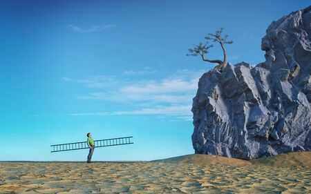 Man holds a ladder and looks up to climb a big rock. This is a 3d render illustration.