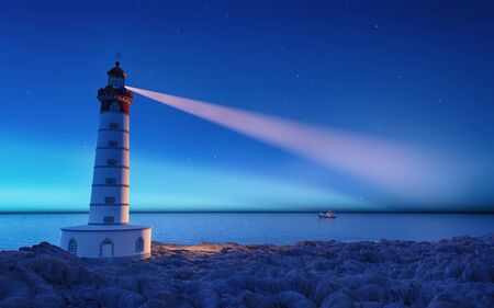 Lighthouse at night with spotlight beam . This is a 3d render illustration.