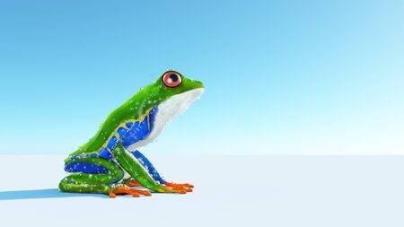 Close up of a green frog on background . This is a 3d render illustration.