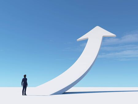 Businessman looks to a white arrow rising up. This is a 3d render illustration .