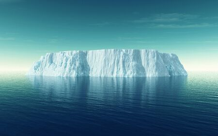 Icebergs floating in the ocean . Ices and icebergs. Glacier lagoon.  South coast Iceland. This is a 3d render illustration