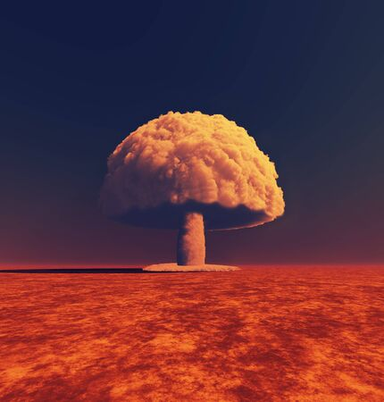Nuclear bomb explosion . Mushroom cloud smoke . This is a 3d Illustration . Banque d'images