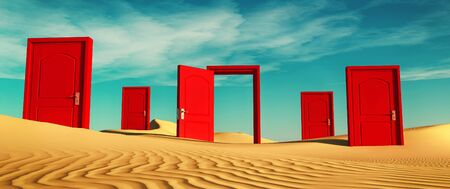 Multiple closed doors in the desert with one open . This is a 3d render illustration . Stock fotó