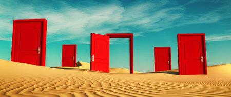 Plusieurs portes fermées dans le désert avec une ouverte. Il s'agit d'une illustration de rendu 3D. Banque d'images