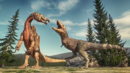 Fight between spinosaurus and t rex on the jurassic valley . This is a 3d render illustration .  Imagens