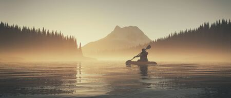 Man kayaking on lake during sunrise on foggy morning. This is a 3d render illustration.