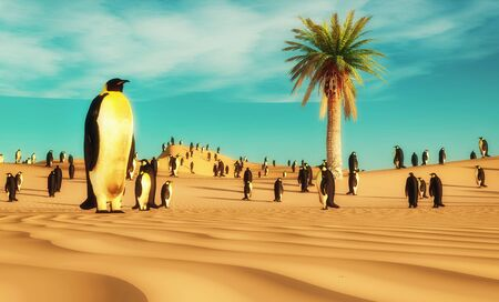 Group of penguins standing in the desert . Global warming and climate change concept . This is a 3d render illustration .