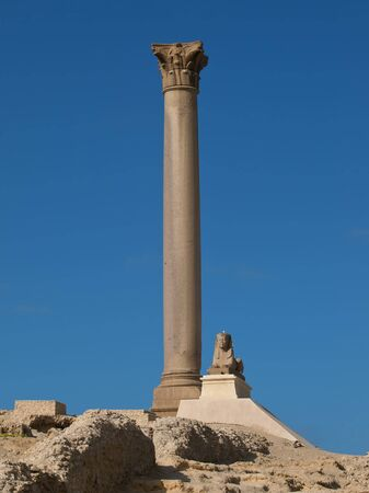 roman pillar: Pompey Pillar - Roman ancient monuments in Alexandria Stock Photo