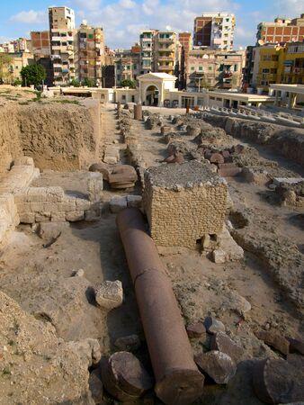 Pompey Pillar - Roman ancient monuments in Alexandria Stock Photo