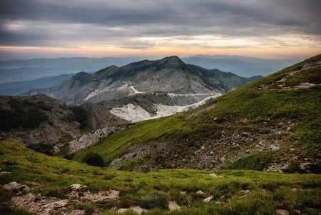 View on the sea from Apuan alps, italian mountains