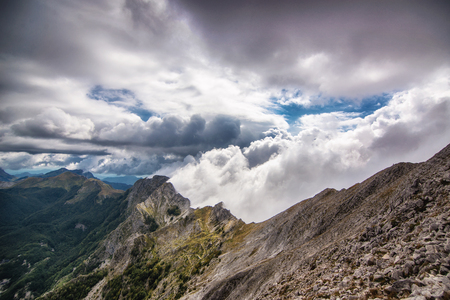 View from Apuan alps, from Mt. Tambura, with a very apuan peculiar atmospheric effect
