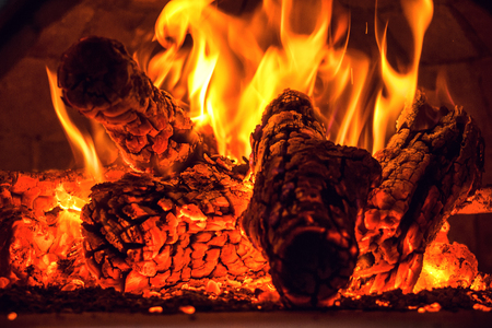 Fireplace with burning wood