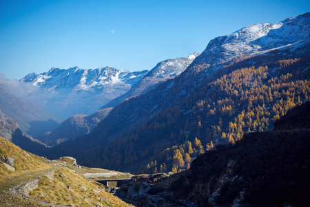 The view of the Orco Valley in Gran Paradiso National Park (GPNP) (Itay) Imagens