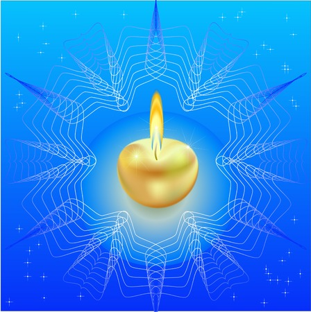 christmas candle in the form of the gold apple, framed with a freakish pattern in the form of a snowflake, against the star sky Illustration