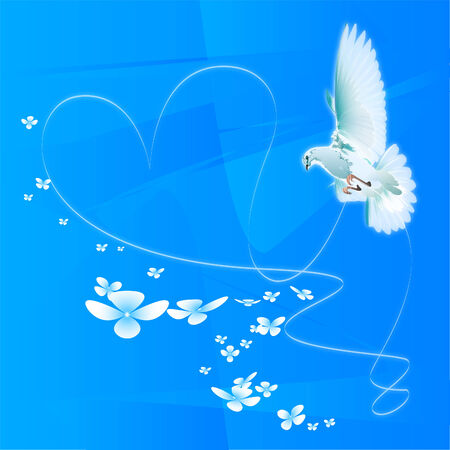 the white pigeon against the blue sky holds a tape which is weaved in the form of love and fidelity heart-symbol.