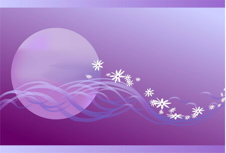 the stylised clouds as waves float on the violet sky against the coming sun, passing gradually in waves from petals Stock Vector - 4281802