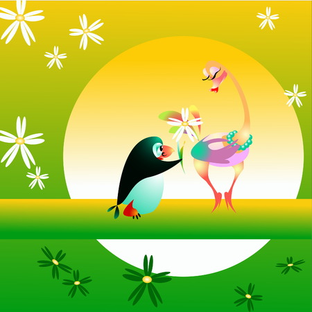 The small penguin admits love to a female of an ostrich and gives it flowers Stock Vector - 4281798