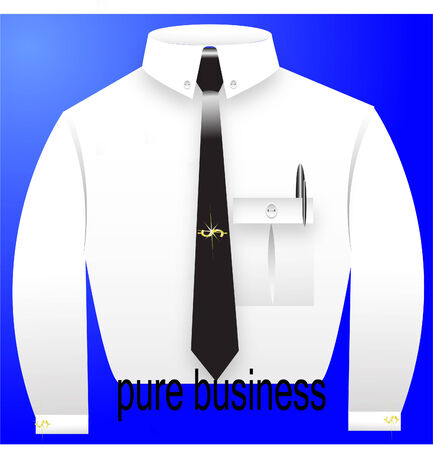 white shirt with a black tie, a cuff link in a kind dollar and a belt with the text