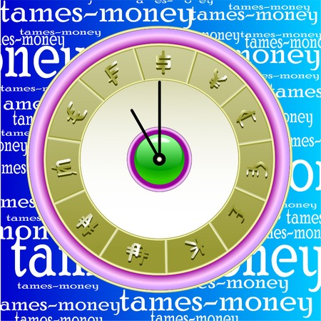the clockwork image on which instead of figures graphic symbols of various currencies are placed