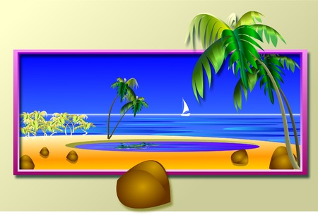 sea landscape with a yacht, palm trees and coconuts