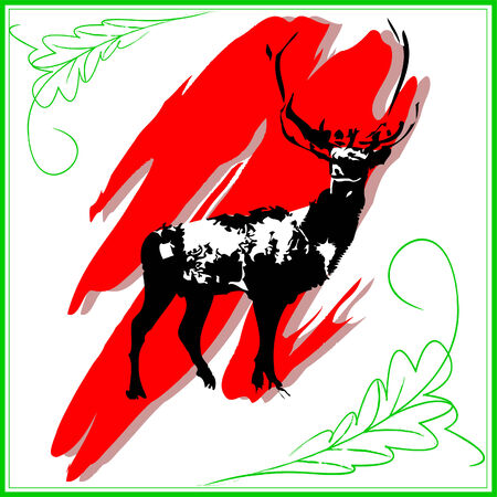 the silhouette of a deer against red dab of a brush, warns that it is necessary to protect animals Illustration