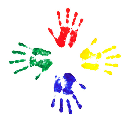 4 colorful handprints isolated on a white background photo