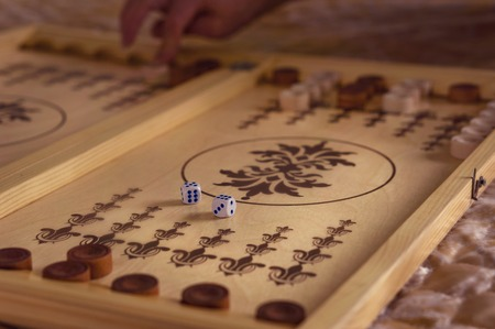 The dice are on the backgammon board
