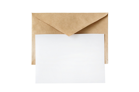 Brown envelope on top is a small piece of paper, mockup Banco de Imagens
