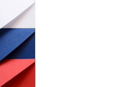 White, blue, red envelopes on the left on a white background symbolize the colors of the Russian flag