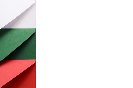 White, green, red envelopes on the left of a white background symbolize the colors of the Republic of Bulgaria flag Banco de Imagens