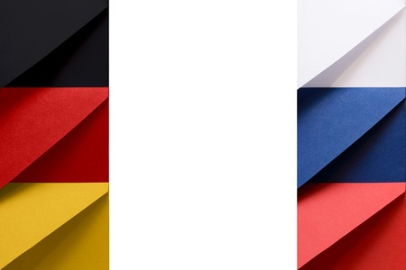 Federal Republic of Germany and Russian Federation flags made from envelopes with blank space at the middle of picture symbolize international communication and cooperation