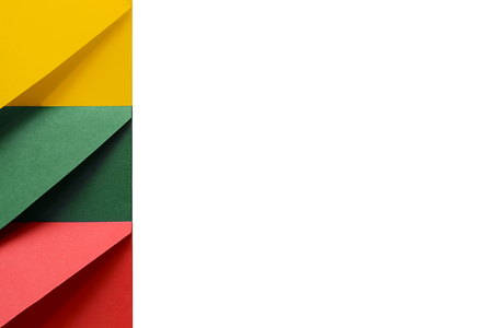 Multi colored envelopes lie together at the left and look like flag of Republic of Lithuania