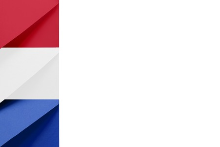 Multi colored envelopes lie together at the left and look like flag of Netherlands