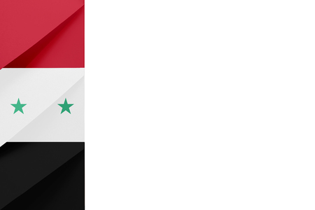 Red, white, black envelopes on the left of a white background symbolize the colors of the Syrian Arab Republic flag