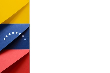 Yellow, blue, red envelopes with stars on the left of a white background symbolize the colors of the Bolivarian Republic of Venezuela flag