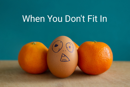 Brown egg stands next to the tangerines. On egg painted surprised face. Above is the inscription: When you dont fit in.