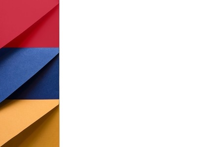 Multi colored envelopes lie together at the left and look like flag of Republic of Armenia