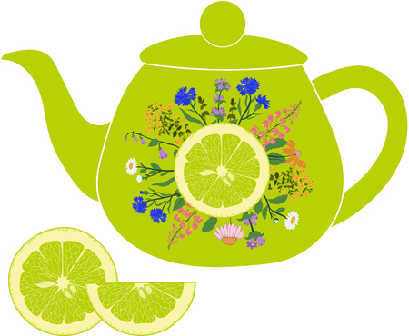 chamomile tea: Lime teapot with herbs and lime on a transparent background