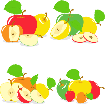 green apple slice: Colorful apples slices, collection of illustrations on a transparent background
