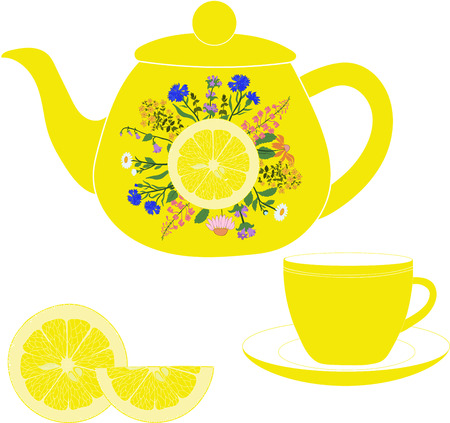 Teapot with cup, herbs and lemon on a transparent background