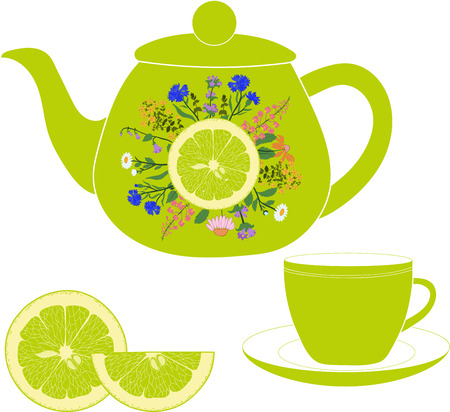 chamomile tea: Teapot with cup, herbs and lime on a transparent background Illustration