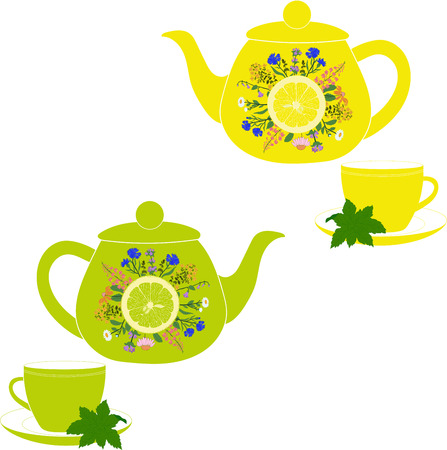 chamomile tea: Teapot and cup with herbs, mint, lemon and lime on a transparent background