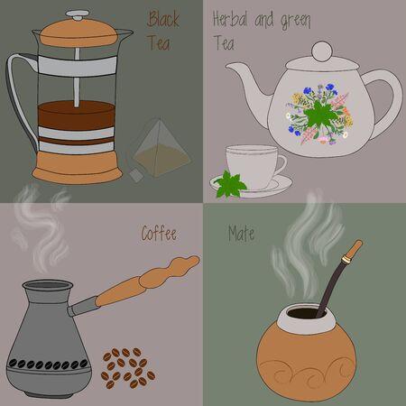 black tea: Set of tea and coffee, green and herbal tea, black tea, mate, coffee Illustration