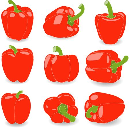 red pepper: Pepper, set of red pepper, vector illustration on a transparent background