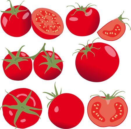 quartered: Tomato. Set tomatoes and slice. Isolated vegetables on white background