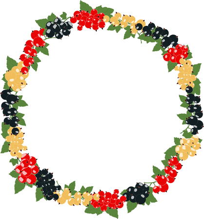 bezel: round frame with currants in clusters on a transparent background